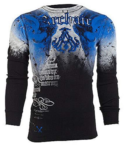 Affliction Archaic Mens Long Sleeve Thermal Shirt NIGHTWATCHER Skulls (X-Large) Black