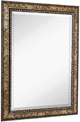 NEW Large Embellished Transitional Rectangle Wall Mirror | Luxury Designer Accented Frame | Solid Beveled Glass| Made In USA | Vanity, Bedroom, or Bathroom | Hangs Horizontal or Vertical