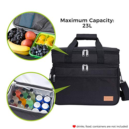 Lifewit 23L (30-Can) Double Decker Soft Cooler Bag with Hard Liner, Large Insulate Picnic Lunch Bag Box Soft-Side Cooling Bag for Camping/BBQ/Family/Outdoor/Activities, Black