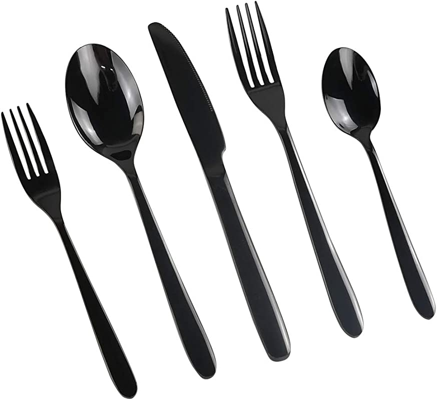 Vababa 60 Piece Black Cutlery Silverware Stainless Steel Flatware Service For 12