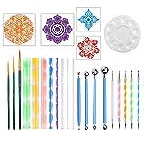 Magiin Kit de 26PCS Mandala Dotting Herramientas DIY Mandala Arte Crafts Set para Pintura Rupestre Mandala y Arte de Lona con Varillas de Acrílico Plantilla Mandala
