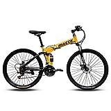 JESU Bicicleta de montaña plegable, doble freno de disco suspensión Bicicletas antideslizantes, velocidad variable doble absorción de golpes, amarillo 24 pulgadas, 21 velocidades