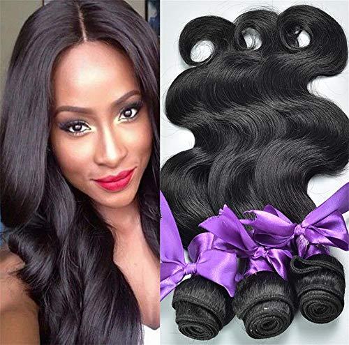 ZGYQGOO Paquet 3 Paquets Vague Corps Cheveux brésiliens Vierges 100% Cheveux Non transformés tisse Une Couleur Noire Naturelle