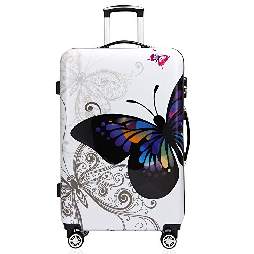 Deuba Butterfly Suitcase Hard Shell Luggage Set with Lock M L XL 360° Wheel Travel (XL)