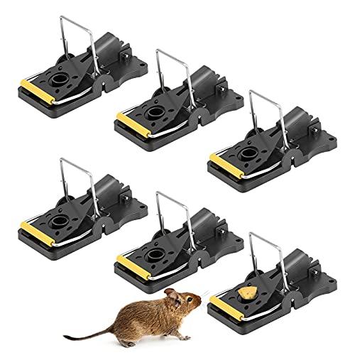 Chilymes Paquete de 6 Trampas para Ratones con Taza de Cebo,Trampa para Roedores,Control de Ratón para Matar Ratones,Trampas para Ratones Reutilizables en el Jardín de la Casa,Interior y Exterior