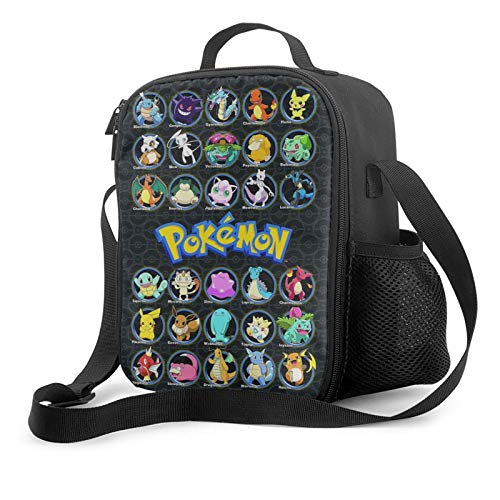 xiaoxiaoshen Pokemo-n Pikach-u Lunch Bag Office Lunch Box For Picnic Camping Work Travel Lunch Tote.