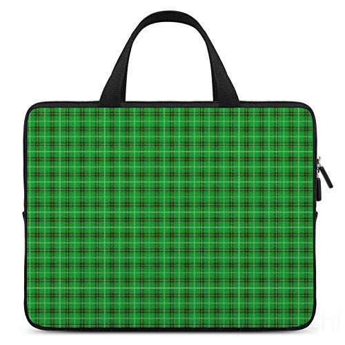 15 Inch Laptop Sleeve Christmas Holly Green And Evergreen Tartan Case/Water-Resistant Notebook Computer Pocket Tablet Briefcase Carrying Bag/Pouch Skin Cover For Acer/Asus/Dell/Lenovo
