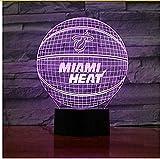 Miami Heat Basketball Acryl Lampe Sport 3D Nachtlicht Neuheit Geschenke 7 Farben Ändern Led...