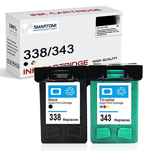 SMARTOMI Remanufactured 338 343 XL Compatibili per HP 338 343 per HP DeskJet 460 5740 6540 6620 6840 9800 PhotoSmart 2575 2610 8450 8750 Pro B8360 PSC 1610 1613 2355 Series (1 Nero 1 Tri-colore)