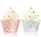 BAKHUK 100pcs Lace Cupcake Wrapper, Laser Baking Cup Liners Holders Muffin Case Trays for Wedding Anniversary Baby Shower Birthday Party Decoration (White and Pink)