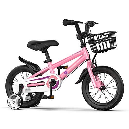 N / A Bicicletas para Niños con Ruedas De Entrenamiento, Bicicletas De Niños De 12/14/16 En Niños Y Niñas, con Cesta De Marco De Acero Al Carbono Y Guardabarros(Size:14inch,Color:Rosa)
