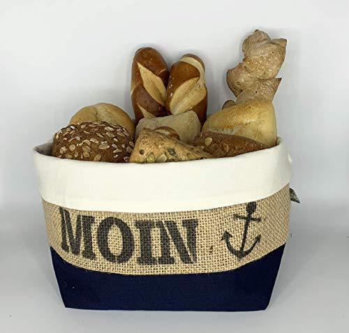 Brötchenkörbchen/Brotkorb Moin Anker aus Kaffeesack für 9-10 Brötchen