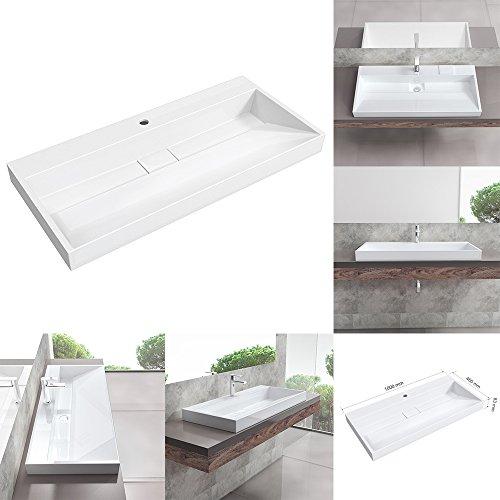 BTH: 100x46x18 cm Aufsatzwaschbecken Einbauwaschbecken D17-1000z aus Mineralguss | Waschbecken Waschtisch Waschplatz Handwaschbecken