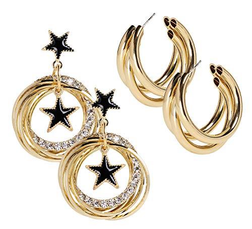 Penta Angel 2 pares de pendientes de aro chapados en oro con diamantes de imitación circulares para mujeres y niñas