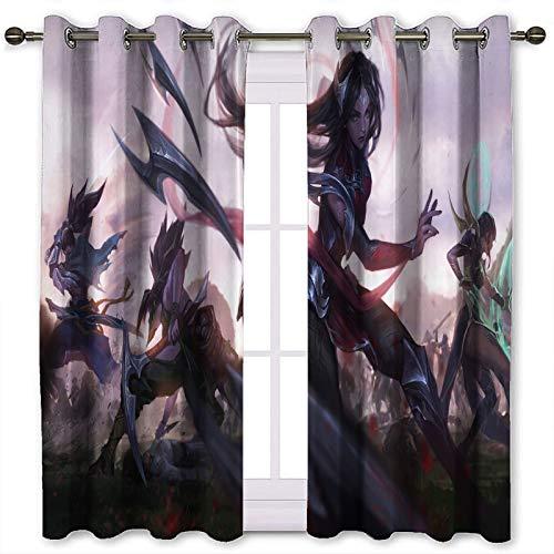SSKJTC Cortinas para tratamientos de ventana de liga de personajes de juego leyendas Roles Lol Ionia estampado cortinas opacas para dormitorio (120 x 105 cm)