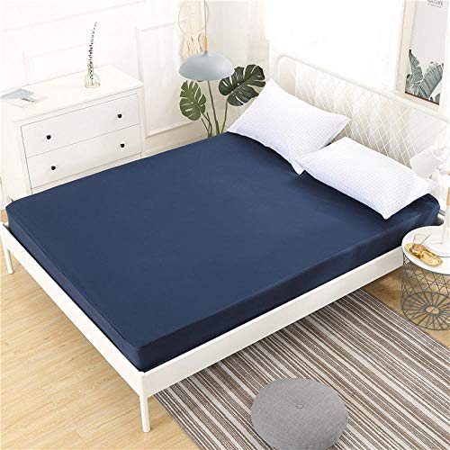 CYYyang Super Soft Warm and Cosy Fitted Bed Sheet Pure color waterproof bed sheet single piece-navy blue_100*190+30cm