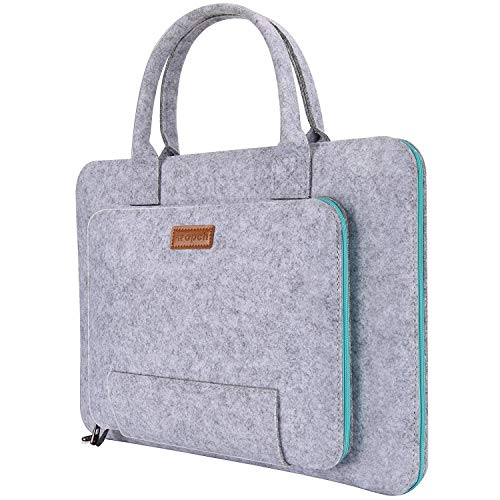 RuiXia WLT -Inch Felt Laptop Sleeve with Handle Notebook Computer Carrying Case Bag Pouch for 15 15.6 Inch Acer, ASUS, Dell, HP, Lenovo, Toshiba, Gray & Light Blue
