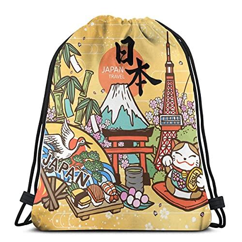 SS-YF Japón País nombre y fortuna en japonés en el Daruma Gym Sack Bag Mochila de deporte con cordón para hombres y mujeres, mochila de viaje escolar, 17 × 14 pulgadas