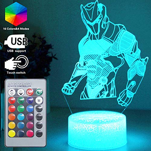 Omega Night Light Lamp 3D Vision Effect LED Night Lights Game Room Bedroom Decor Table Light Remote Control & 16 Colors Birthday Holiday Gift Ideas for Child Kids Teen Boyfriends(Omega(Remote))