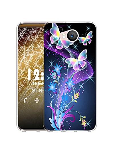 Sunrive Kompatibel mit Elephone P9000 Lite Hülle Silikon, Transparent Handyhülle Schutzhülle Etui Hülle (Q Schmetterling 2)+Gratis Universal Eingabestift MEHRWEG