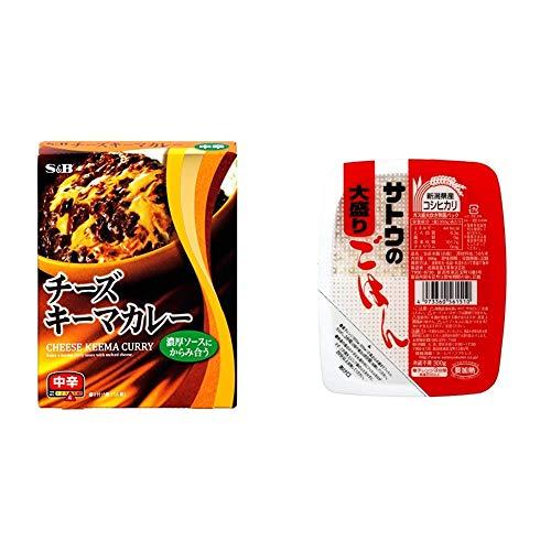 【セット販売】S&B チーズキーマカレー 中辛 157g×5個 + サトウのごはん 新潟県産コシヒカリ大盛 300g×6個