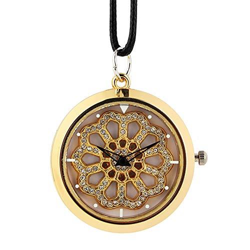 SDVIB Taschenuhr Kristall Diamant Frauen Halskette Uhr Leder Seil Quarz Hängende Uhr Top Plattenspieler Uhr Mädchen, Gold