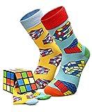 Creasocks Lustige Socken Herren, Neuheit, Funky, Witzig, Bunte Silly Rubiks Socken für Geschenke, Baumwolle, Geschenke für Einzigartige Gemusterte Socken 2 Paar Unisex, Rubiks Cube, Large