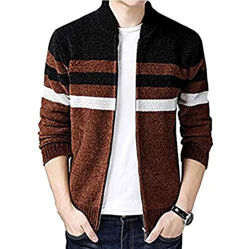 XinYangNi Men's Casual Wide Stripes Zipper Knitted Cardigan Sweater Coffee US M/Asia XL