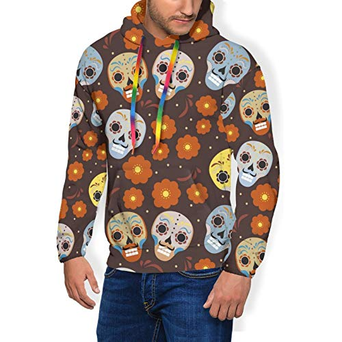 Men & Boys Hoodie for Cycling Fishing Sports - Day of The Dead Holiday in Mexico Pattern 3D Printed Slim Fit Pullover Sweatshirt Drawstring Novelty Tunic Top Blouse