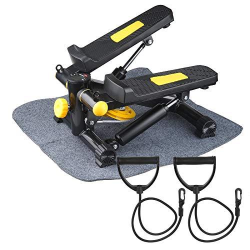 Vinteky Mini Stepper con Maniglie e Power Ropes,Display LED - Step Trainer Equipment (A)