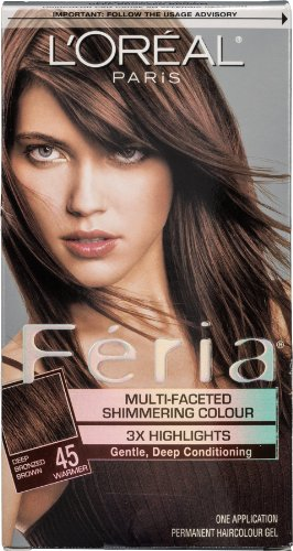 L'Oreal Paris Feria Permanent Haircolour Gel Deep Bronzed Brown 45 Warmer