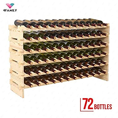 Mecor Wine Rack Wood, Modular Stackable Storage 72 Bottle Display Capacity Shelves, Wobble-Free