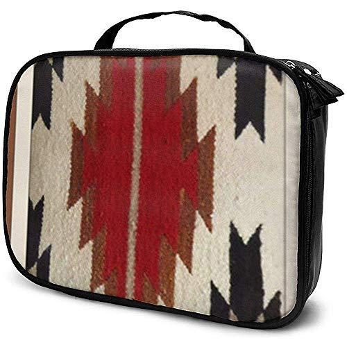 Tribal Native American Red Hue Imprimer Trousse De Maquillage Portable Cosmetic Case Grande capacité Cosmétique Organisateur Durable
