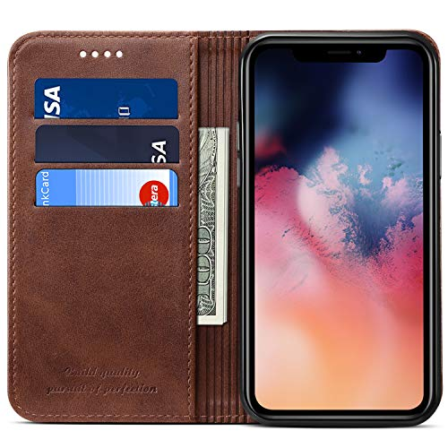 Wallet Case for 2019 iPhone 11 Pro Max, Kickstand Magnetic PU Leather Folio Flip Cover ID Credit Card Holder, 6.5 inches, Brown