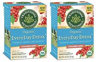 Traditional Medicinals Organic EveryDay Detox Schisandra Berry Detox Tea, 16 Tea Bags (Pack of 2) by Traditional Medicinals