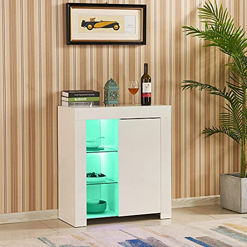 TUKAILAi Modern White High Gloss Matt Cabinet Sideboard with LED Lights Bookshelf Storage Cupboard Unit for Dining Room Living Room Kitchen Office