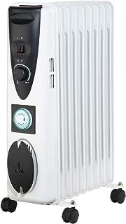 Lauson Radiador Eléctrico de Aceite Temporizador Programable, 3 Niveles de Potencia, Protección contra Sobrecalentamiento y Recogecables, Ahorro Energético, Blanco (2000 W)