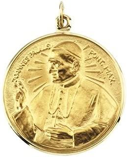 14k Yellow Gold 25 mm Round Pope John Paul II Medal