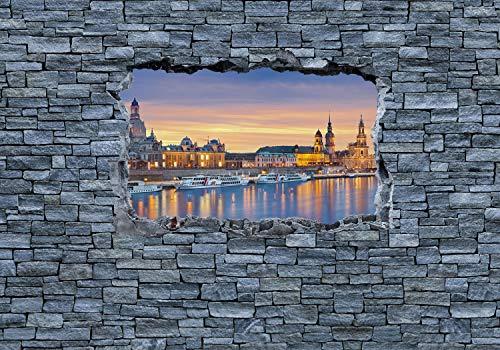 wandmotiv24 Fototapete 3D Dresden - grobe Steinmauer M 250 x 175 cm - 5 Teile Fototapeten, Wandbild, Motivtapeten, Vlies-Tapeten 3D-Optik, Wandbruch, Dresden M0637