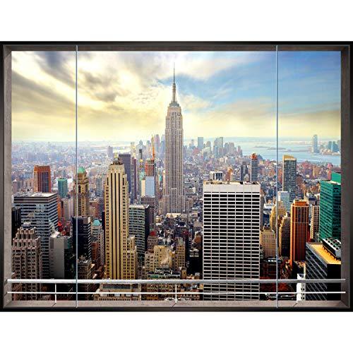 Fototapete Fenster nach New York Vlies Wand Tapete Wohnzimmer Schlafzimmer Büro Flur Dekoration Wandbilder XXL Moderne Wanddeko - 100% MADE IN GERMANY- NY Stadt City - Runa Tapeten 9026010a