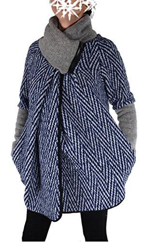 Italy Donna dames lagenlook wol poncho ballon jas blazer winter overgang trui gebreid vest 36 38 40 42 44 S M L XL blauw grijs kort mantel