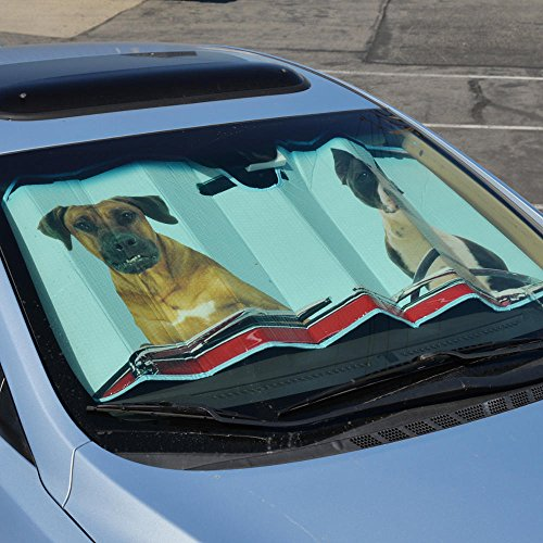 BDK AS-766 2 Dogs Driving Front Windshield Shade-Accordion Folding Auto Sunshade for Car Truck SUV-Blocks UV Rays Sun Visor Protector-Keeps Your Vehicle Cool-58 x 28 Inch
