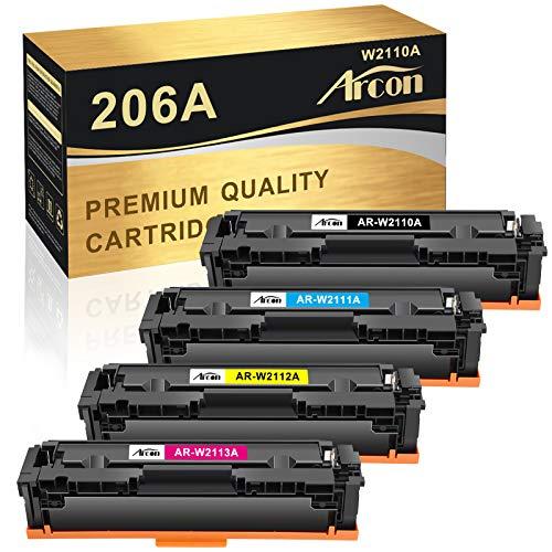 Price comparison product image Arcon Compatible Toner Cartridge Replacement for HP 206A W2110A 206X M255dw for HP Color Laserjet Pro M255dw MFP M283fdw M283cdw M282nw Printer W2111A W2112A W2113A Toner Cartridges (4PK, KCYM)