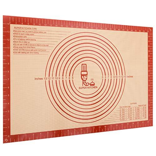 Extra Dick Rutschfeste Backunterlage Antihafte Backmatte aus Silikon Groß 60 x 40cm Teigunterlage Ausrollmatte XXL Silikonmatte Backfolie Teigmatte mit Messung für Fondant Pizza Matte, BPA Frei (Rot)