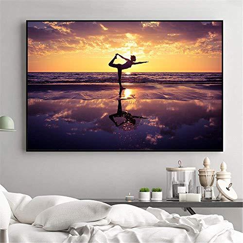 ahjs457 1000 Piezas Rompecabezas Rompecabezas de Madera Sunset Sea Yoga Completa personalización Adultos y niños cartón Resistente desafío