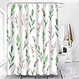 ArtSocket Pink and Green Shower Curtain, Pink Flower Green Leaf Shower Curtains for Bathroom Decor Sets, Plant Floral Shower Curtain with 12 Hooks Waterproof Polyester Fabric 72 x 72 Inches