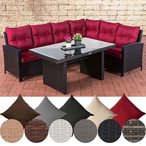 CLP ratán sintético juego de muebles de jardín MINARI, totalmente montado, ratán sofá de esquina + mesa de comedor 140x 80cm, con cómodos cojines ratán color: marrón jaspeado, cojín: Rojo Ru