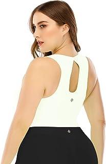Layla'sCelebrity Womens Crop Top High Neck Sports Bras Plus Size Longline Racerback Padded Workout Gym Yoga Bra
