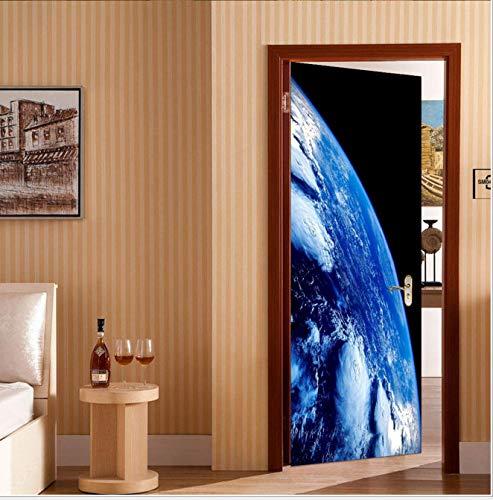 BVCK 3D Türaufkleber3D Universe Earth Gate AufkleberPoster Wandtattoo Tür Wandbild Kunst Schlafzimmer Tür Wasserdicht PVC Aufkleber DIY