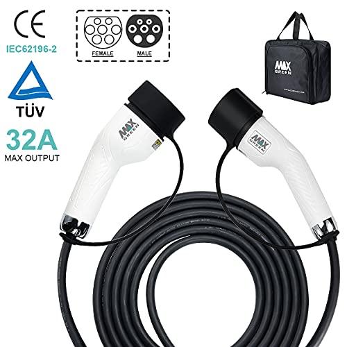 MAX GREEN Cable de Carga para vehículos eléctricos e híbridos enchufables de...